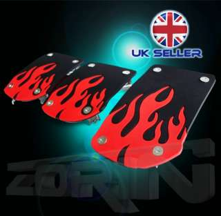 RETRO RED FLAME RACING CAR PEDAL COVER SET RACER NEW