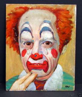 Signed Stan Oil Painting ? Famous Clown ? Circus