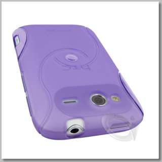 Purple TPU Gel Case Screen Protector for HTC Wildfire S