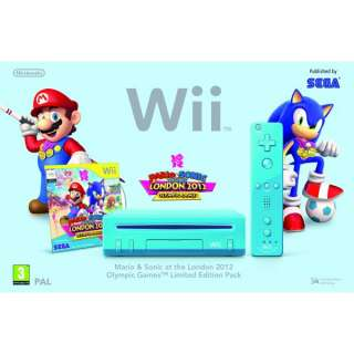 Nintendo Wii Console (Blue) with Mario & Sonic At The London 2012