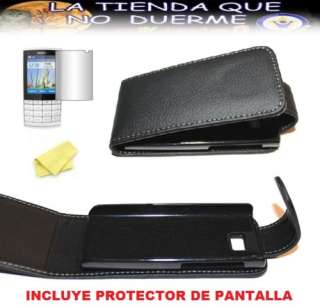 Funda para NOKIA X3 02   X302 Cuero Negro + PROTECTOR