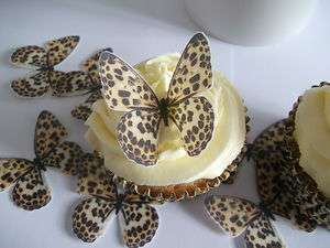 24 BUTTERFLIES LEOPARD PRINT *FAB* CUPCAKE/FAIRY CAKE TOPPERS EDIBLE