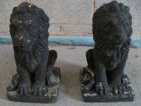 Pair of Cast Concrete Garden Lions