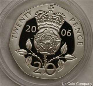 2006 UK QUEEN ELIZABETH II SILVER PROOF 20P TWENTY PENCE COIN