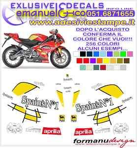 KIT ADESIVI DECAL APRILIA RS 125 REPLICA SPAINS N°1