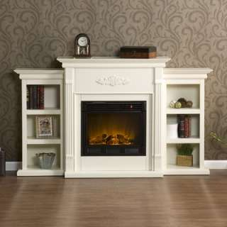 Wildon Home Franklin Electric Fireplace with Firebox in Antique Ivory