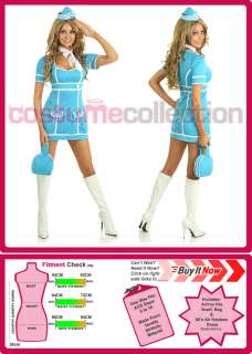Retro 60s 70s Stewardess Flight Attendant Air Hostess Fancy Dress