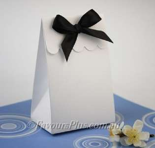 100 x WHITE Sweet Shoppe Wedding Favor Boxes w/Ribbon