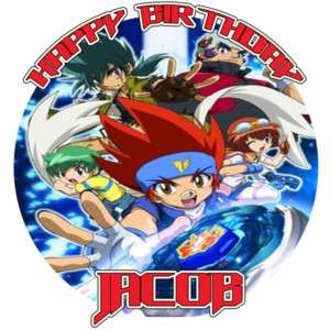 BEYBLADE Custom Round Edible CAKE Image Icing Topper