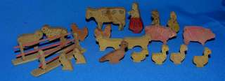 VTG ANTIQUE FOLK ART, PRIMITIVE GERMAN ERZGEBIRGE 22PC WOOD FARM PLAY
