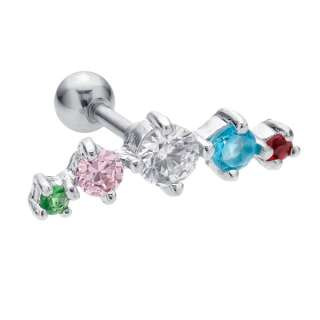CZ Crescent 5 Gem Cartilage Piercing Earring 16G 16 Gauge G