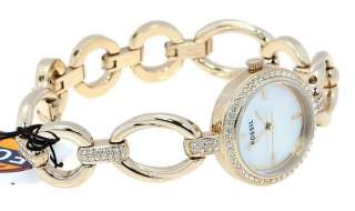 WOMENS FOSSIL MOTHER OF PEARL CRYSTALS DIAL GOLD TONE BRACELET WATCH