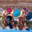 24k gold plated oval jewel rings by begolden