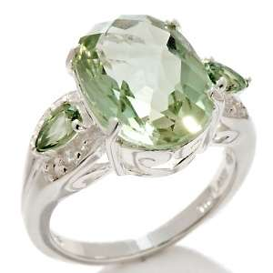 Prasiolite and Green Sapphire Sterling Silver Oval Ring