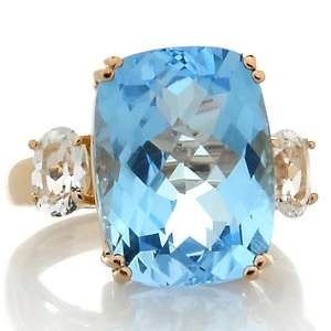 Brodie 10.74ct Sky Blue and White Topaz 10K Rose Gold Ring