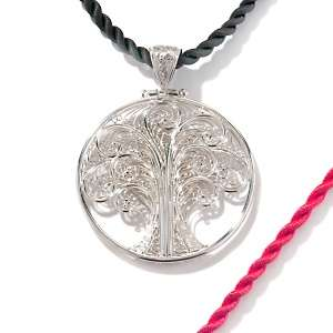 CL by Design Sterling Silver Tree of Life Pendant with 2 piece Cord