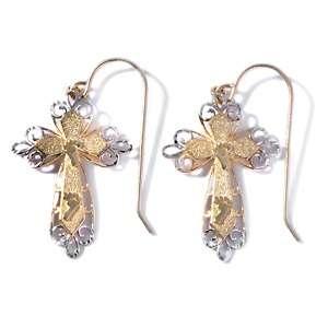 Michael Anthony Jewelry® 10K Footprints Cross Shaped Drop Earrings at