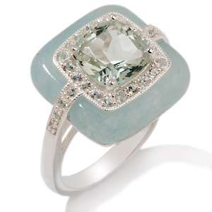 Mint Green Quartz, White Sapphire and Blue Quartzite Sterling Silver