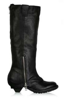 Black Time Knee High Zip Stub Heel Boot by Ash   Black   Buy Boots