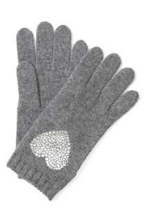 & Chic  Grey Crystal Heart Wool Gloves by Moschino Cheap & Chic