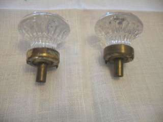Vintage Antique Glass Sandwich Drawer Knobs Cabinet Door Pulls Brass
