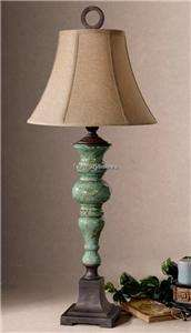 Designer Aqua TURQUOISE Blue Ceramic Accent TABLE LAMP Antiqued Luxury