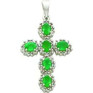 14 Karat White Gold Genuine Diamond and Emerald Cross Charm Jewelry