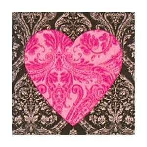 Glamour Black & Pink Heart Beverage Napkins Kitchen