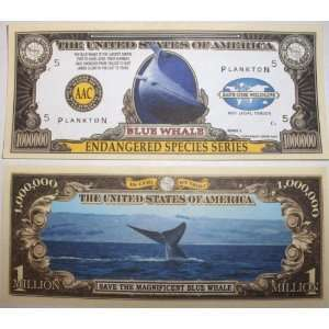 Set of 10 Bills Blue Whale Million Dollar Bill Toys & Games