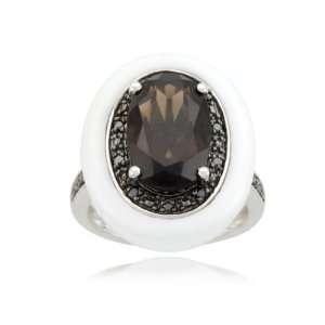 Smoky Quartz White Agate Black Diamond Ring (1/14 cttw, Black), Size 5