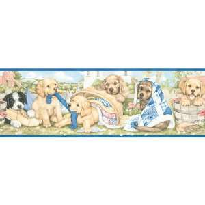 allen + roth Laundry Puppies Wallpaper Border LW1342705