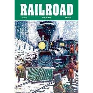Vintage Art Railroad Magazine Through the Snow, 1952   06118 9
