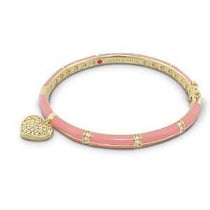 Adams 18K Gold Plated Stackable Baby Pink Enamel Bangle Bracelet