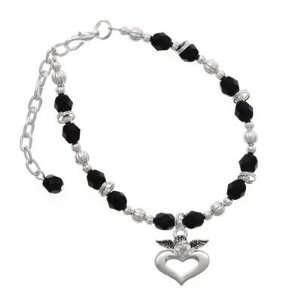 over Heart Black Czech Glass Beaded Charm Bracelet [Jewelry] Jewelry