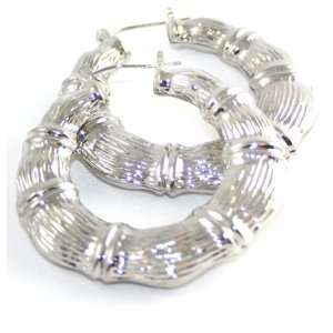 2 Big and Xtra Thick Silver Toned Bamboo Hoop Earrings
