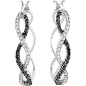 Genuine Ibiza (TM) 14K White Gold Hoop Earrings. Black