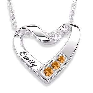 Sterling Silver Birthstone & Name Heart Necklace