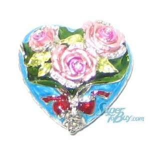 Blue Pink Rose Heart   Crystal Diamond Jewelry Trinket Box