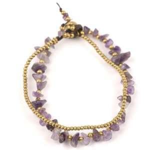 Multi amethyst brass gold cuff strand charms bracelet by