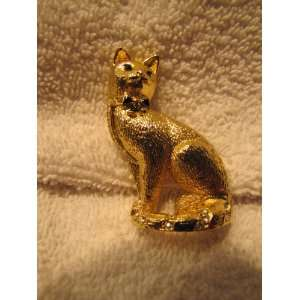 Brushed Goldtone Cat Brooch Pin
