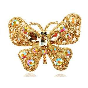 Swarovski Element Jewelry Topaz Crystal Rhinestone Butterfly Brooch