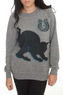 Free Gold Watch Heather Grey Black Cat Sweatshirt Clothing