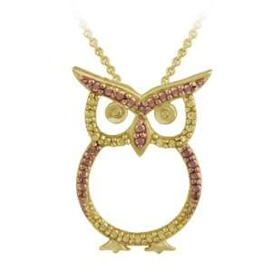 Rose Gold over Silver Champagne Diamond Accent Owl Necklace Jewelry