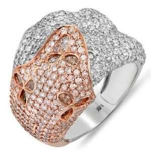 14k Rose Gold White & Champagne Round Diamond Ladies Cocktail Ring (4
