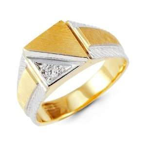 Mens 14k Yellow White Gold Round CZ Square Crown Ring Jewelry