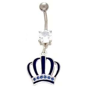 Princess Blue Royal Crown Dangle Belly Ring with CZ Stone