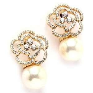 Crystal Goldtone Cream Faux Pearl Flower Drop Earrings Jewelry