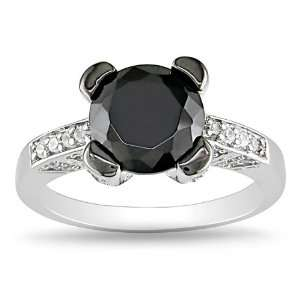 Sterling Silver 3 3/8 CT TGW Round Black Cubic Zirconia White Cubic