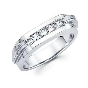 Set 14k White Gold Mens Diamond Wedding Ring Band .65 ct (G H, I1