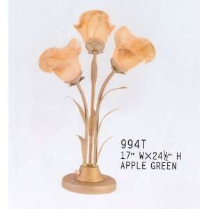 BEAUTIFUL FLOWER DESIGN TABLE LAMP IN APPLE GREEN FNSH